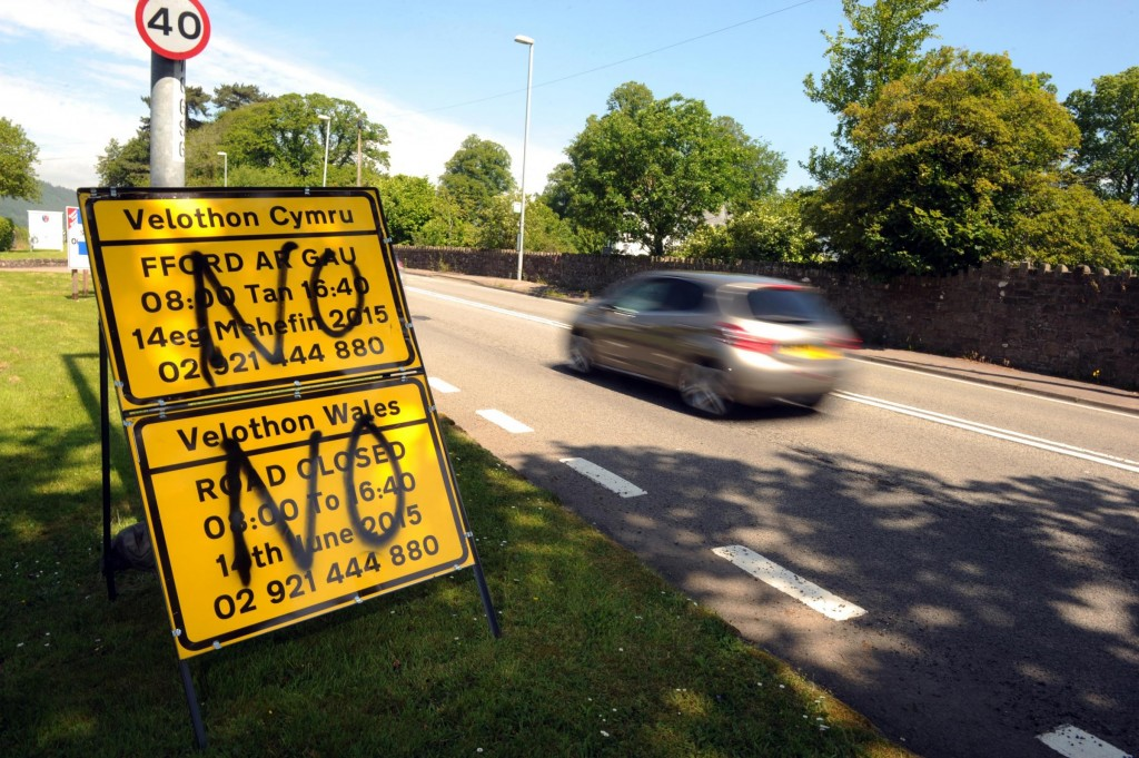 Image from South Wales Argus - Vandalism on Velothon Wales signs Llanfoist.