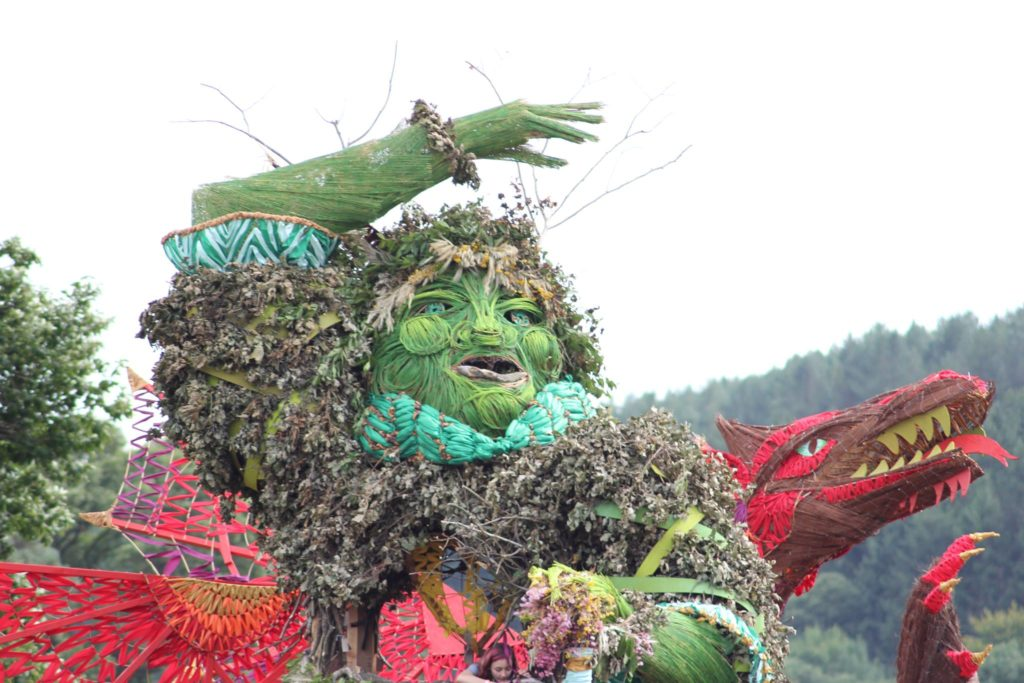 The Green Man watches over the festival site!