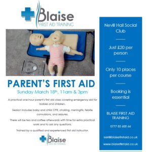 Parent's First Aid class @ Nevill Hall Social Club | Wales | United Kingdom