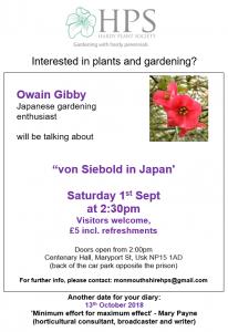 "Hardy Plant Society: ""von Siebold in Japan' @ Centenary Hall, Maryport St, Usk NP15 1AD  | Wales | United Kingdom"